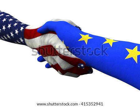 american hand shaking european hand isolated on white with clipping path, 3d illustration