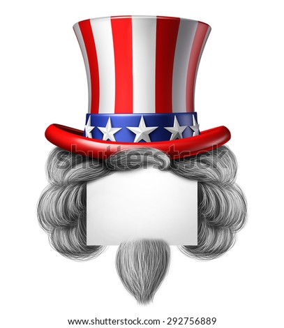 American hat sign with copy space as a stars and stripes with hair as a concept for pride and patriotism in America and celebration of independence day and the fourth of july for the United States. - stock photo