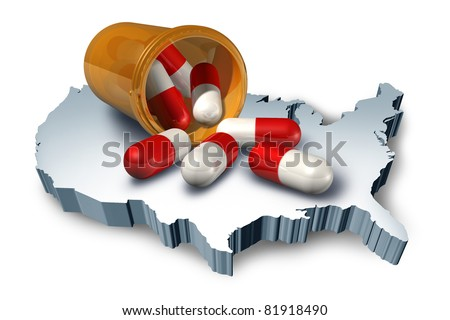 American health care symbol represented by a pill bottle with medicine capsules on a 3d map of the United States of America showing the concept of medical hospital and pharmaceutical system. - stock photo