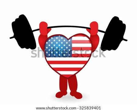 american heart lifting weight - cartoon heart with usa flag - stock photo