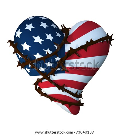 American Heart Wrapped with Thorns.  An American flag textured valentine heart entwined by a thorny vine.