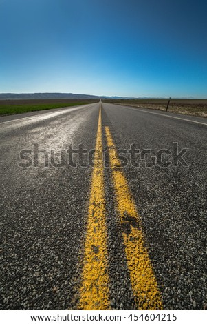 American highway far away from town - stock photo