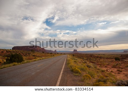 American Highway in Arizona near Monument Valley - stock photo