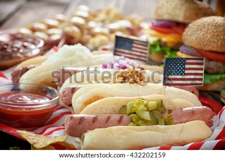 American holiday 4th of July Hot Dogs  - stock photo