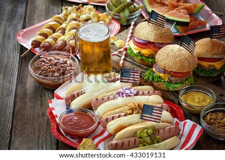 American holiday 4th of July - Picnic Table  - stock photo