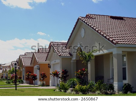 american homes in a middle income new development - stock photo