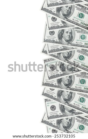 American hundred dollar bills. Background with place for text. - stock photo