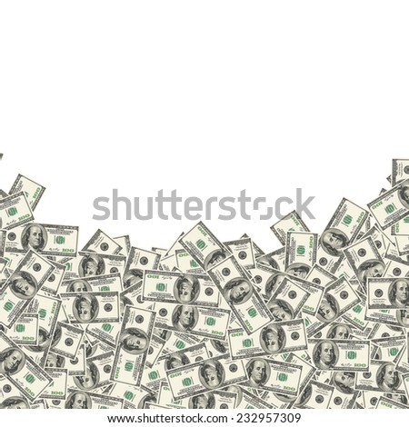American hundred dollar bills on white background - stock photo