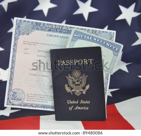 American ID Documents Passport Birth Certificate Stock Photo ...