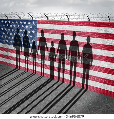 American immigration and United States refugee crisis concept as people on a border wall with a US flag as a social issue on refugees or illegal immigrants with the shadow of a group of migrants.   - stock photo
