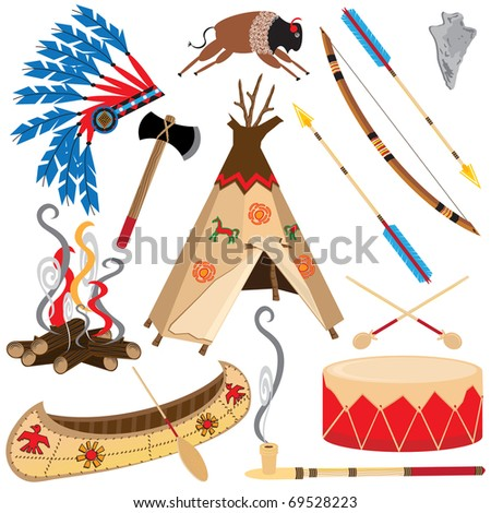 American Indian Clipart Icons and Elements, isolated on white - stock photo
