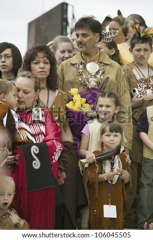 American Indians and Powhatan Tribal members in front of State Capitol during ceremonies for the 400th Anniversary of the Jamestown Settlement on May 3, 2007 - stock photo
