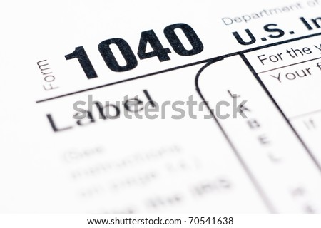 American Individual Tax form 1040 for year 2010 - stock photo