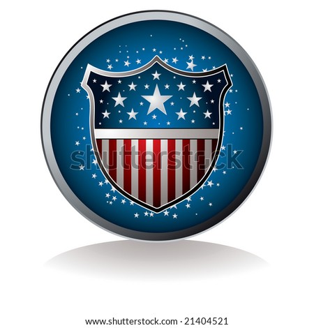 American inspired badge with drop shadow and star background - stock photo