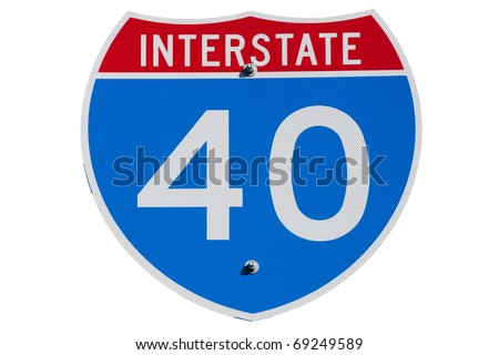 American Interstate I-40 sign on isolated background - stock photo
