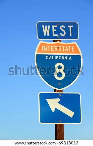 American Interstate I-8 West sign in Caiifornia - stock photo