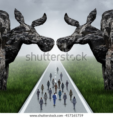 American liberal election concept as a road with voters walking between two mountain cliffs as a donkey symbol and left wing politics icon as a USA nomination symbol with 3D illustration elements. - stock photo