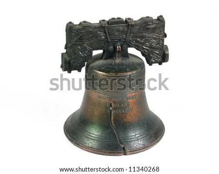 American Liberty Bell Philadelphia isolated on white - stock photo
