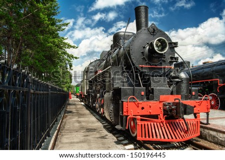 American locomotive Ea 3078 in Novosibirsk railroads museum - USSR were supplied with such locomotives under Lend-Lease agreement. - stock photo