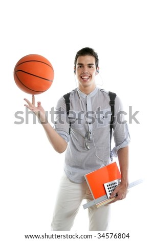 American look student boy with basket ball and notebook isolated on white