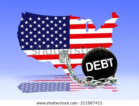 American Map and Debt Ball  - stock photo