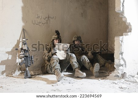 American Marines taking rest. - stock photo