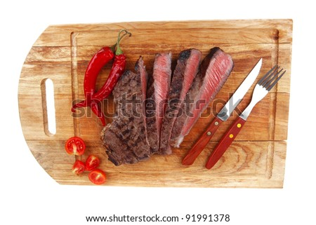 american meat : big rare roast steak on wood isolate on white background - stock photo