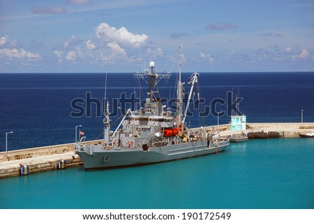 American military ship in the Caribbean water in sunny day - stock photo