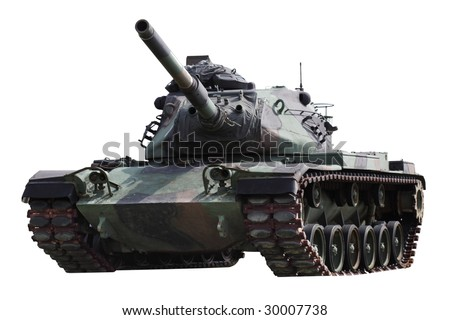American military tank isolated on white background - stock photo