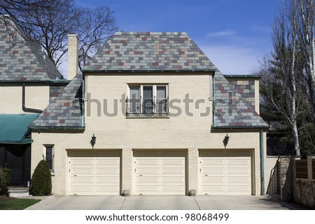 American Modern Garage With Blue Sky - stock photo