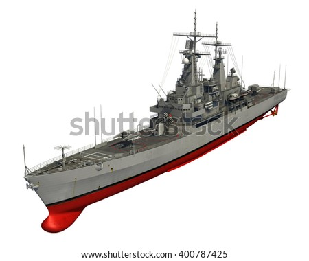 American Modern Warship On White Background. 3D Illustration. - stock photo