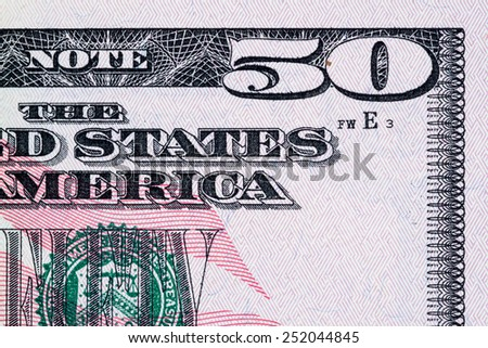 American money, Fifty dollar bill close-up. - stock photo