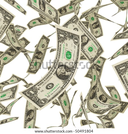 American Money in 1 dollar bills isolated on white - stock photo