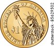 American money, one dollar coin with the image of the Statue of Liberty - stock vector
