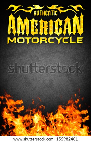 American motorcycle grunge poster with fire - card design - copy space - stock photo