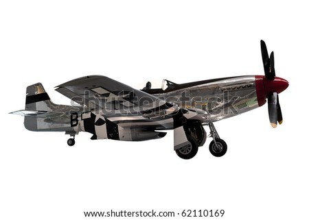 American mustang fighter plane isolated on white
