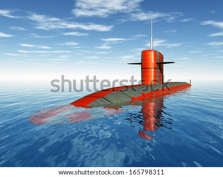 American Nuclear Submarine Computer generated 3D illustration - stock photo