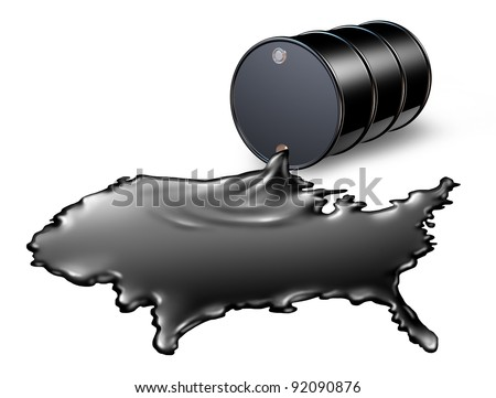 American Oil Industry with a black drum barrel spilling out fossil fuel liquid crude as a map of the United States as a concept of drilling and petroleum gas energy dependence by the US government. - stock photo