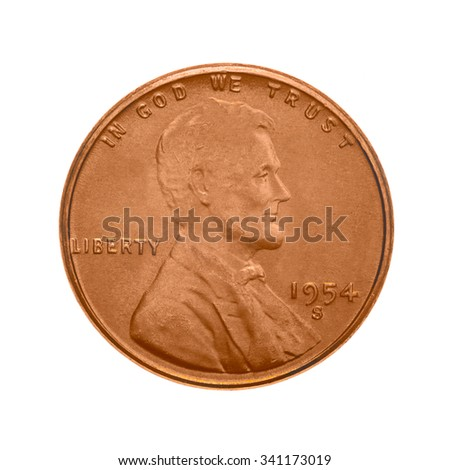 American one cent coin. The obverse side - Abraham Lincoln's portrait. Isolated on white background. - stock photo