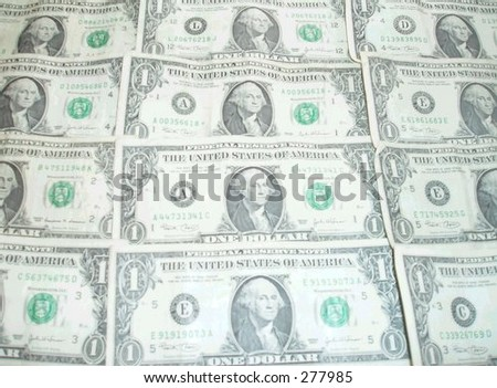American one dollar bills - stock photo