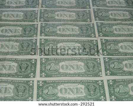 American one dollar bills, face down - stock photo