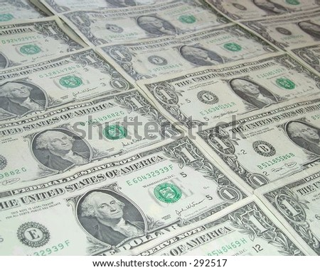 American one dollar bills, face up
