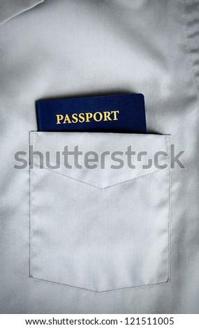 American passport in a pocket,no trademark - stock photo