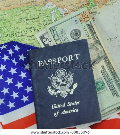 American Passport Money Flag on Map Background - stock photo