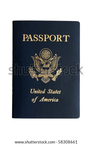 American passport on a white background