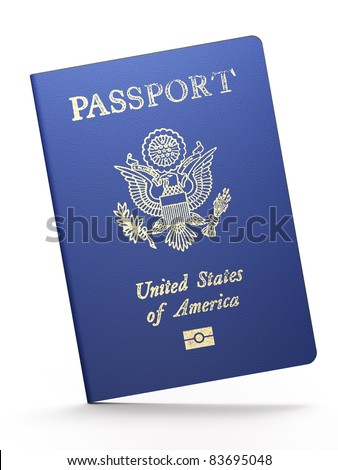 American passport on white background - stock photo