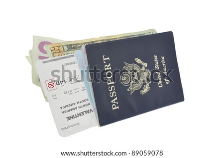 American Passport  Travel Document Valentine Day Airline Ticket Boarding Pass American Currency Isolated on White Background - stock photo