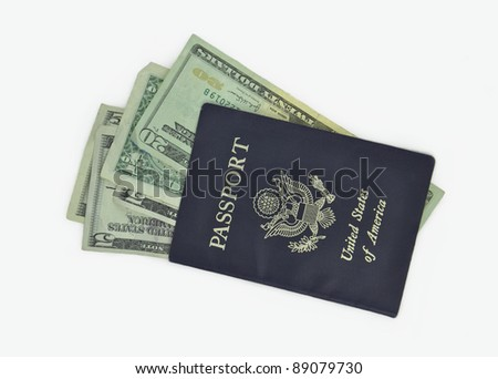 American Passport  U.S. Currency Money Isolated on White Background - stock photo
