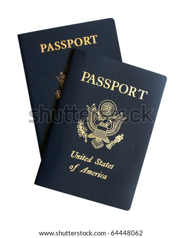 American passports isolated on a white background - stock photo
