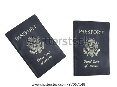 American Passports isolated on white background - stock photo